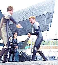 This is amazing!! Sam, Josh, and Jen messing around in Catching Fire!!