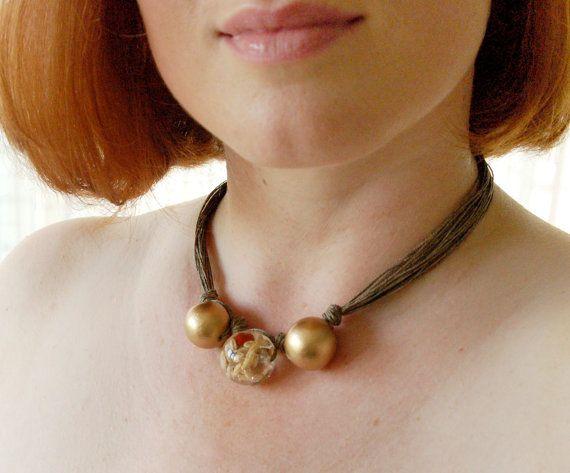 Golden Seeds  Natural Linen Necklace Golden by BeadedCoffeeTree, $24.64