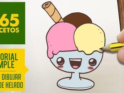 COMO DIBUJAR UN COPA DE HELADO KAWAII PASO A PASO - Dibujos kawaii faciles - How to draw a sundae                                                                                                                                                                                 Mais