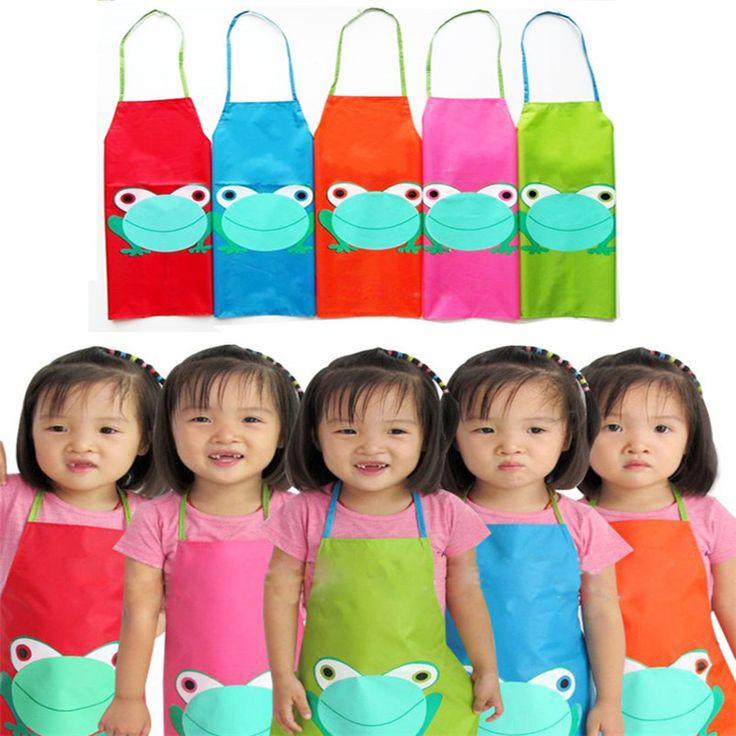 Cute Kids Child Children Waterproof PVC Apron Cartoon Frog Printed Nursery Painting Cooking Apron