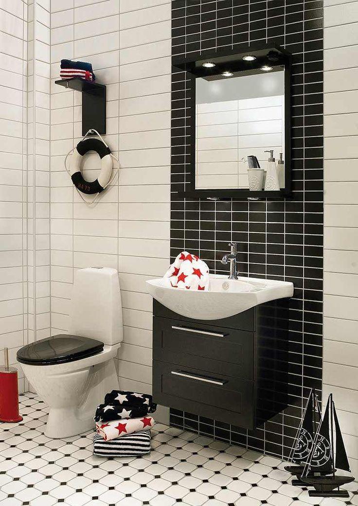 salle de bain noir et blanc desprit rtro carrelage original en noir et