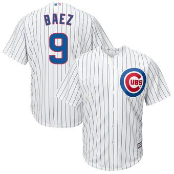 a68eb09f589 Men s Chicago Cubs Javier Baez Majestic White Home Cool Base Player Jersey