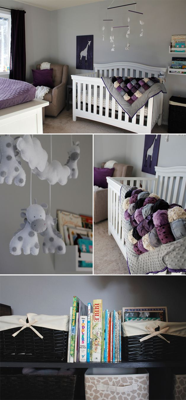 LOOVE this nursery! Would probably do the blanket without the kinky trim, but the purples and giraffes are so perfect! Baby girl purple giraffe nursery reveal