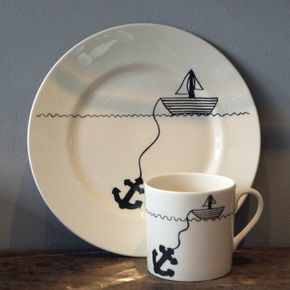 Nauʈicaℓ ⚓ hello sailor cake plate & mug set from Unite & Type