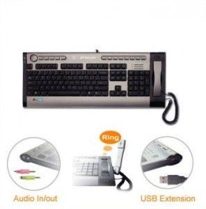 USB Tastatur mit eingebautem Telefon. Internet Keyboard mit IP-Telefon und Audio Anschluss.