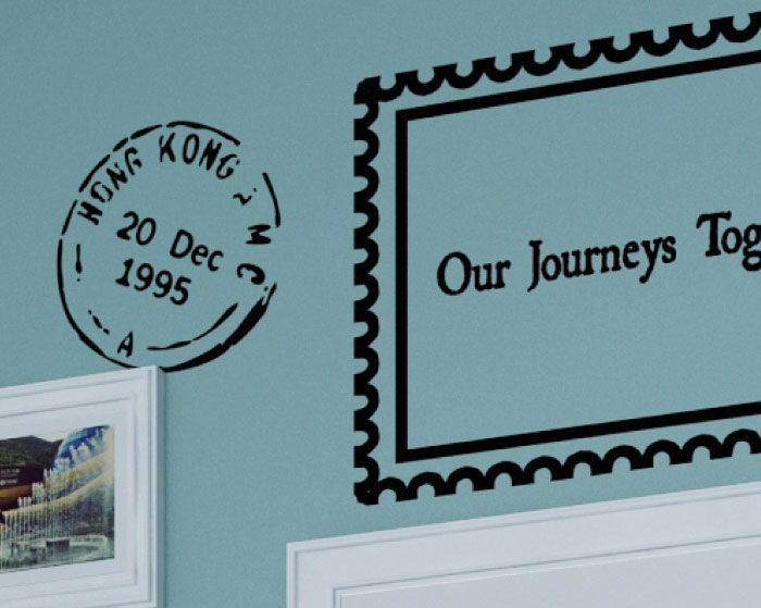 World Cities Travel Postmark Wall Decal Customize with date and city.