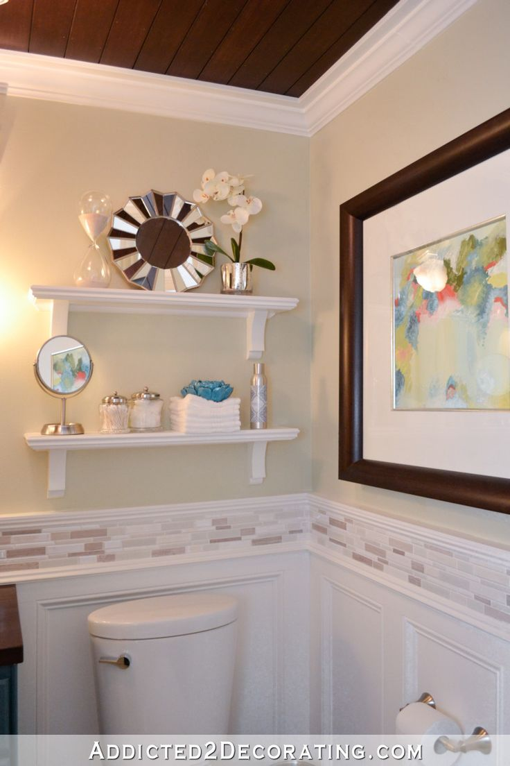 DIY wall shelves above toilet and framed artwork on bathroom wall – Bathroom makeover