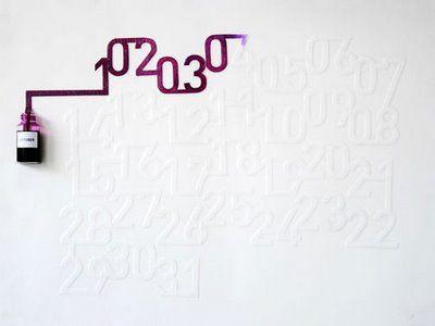 ink calendar slowly absorbs the ink, revealing a new number representative of the dateIdeas, Ink Calendar, Numbers, Paper, Up North, Calendar Design, Graphics Design, Design Art, Oscars Diaz