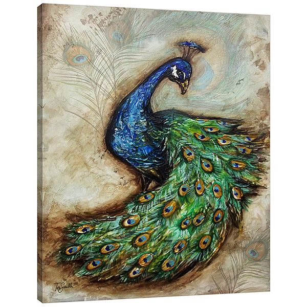 Jaxson Rea 'Peacock' Wrapped Canvas (47 CAD) ❤ liked on Polyvore featuring home, home decor, wall art, peacock canvas wall art, peacock wall art, canvas home decor, peacock home accessories and peacock home decor