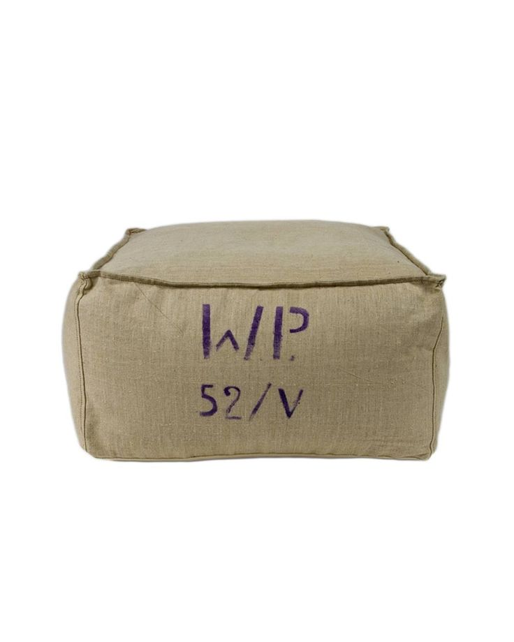 Beige recycling puf Gie El Home A genuine recycled natural linen canvas fabric coming from military materials. The fabric is adequately cleaned and prepared, it bears traces of the marking.