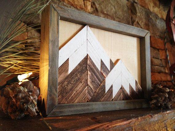 Mountain wood art, wall decor, mountain art, mini art, small mountain,  rustic art, mountain range, lodge art, mosaic, ski, fireplace art