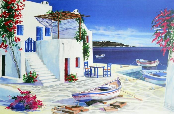André Savy   French Landscape painter   Santorini Walkway - Greek islands