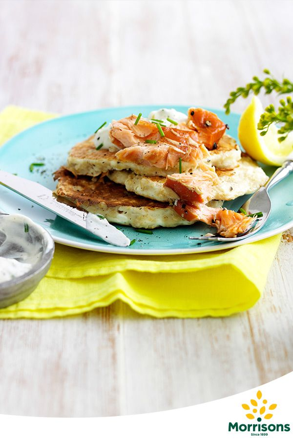 Fluffy Oat Pancakes With Hot Smoked Salmon