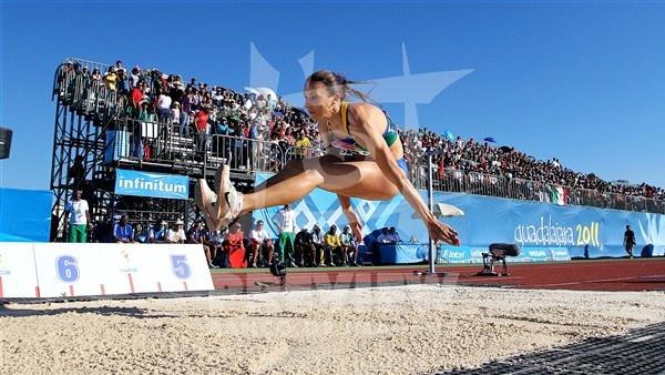 Maurren Maggi participa do salto em distância nos Jogos Pan-Americanos de Guadalajara 2011.