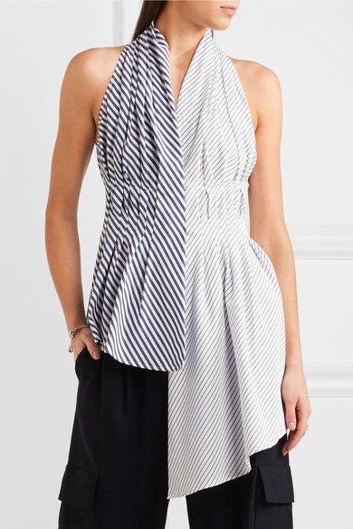 Adam Lippes - Asymmetric Striped Cotton-poplin Top - White - US12