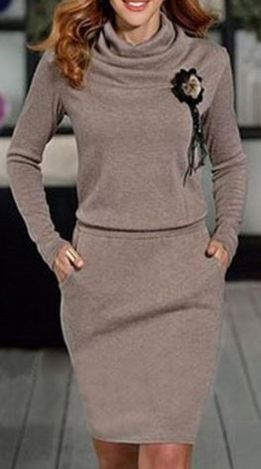 Awesome Work Dress! Stylish Cowl Neck Long Sleeve Solid Color Women's Bodycon Work Dress #Working #Womens #Fashion #Work #Dress #Fall #Outfit #Ideas