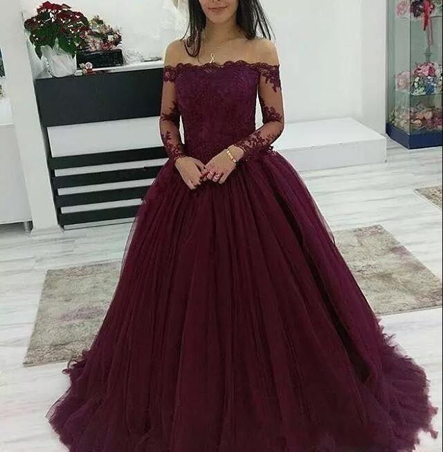 Burgund Prom Kleider aus der Schulter Spitze Applique lange Ärmel Tüll Abendkl… – # Kleider