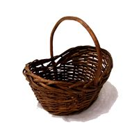 Stained Mini Willow Handle Basket - Easter Baskets