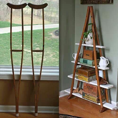 Shelf using old crutches