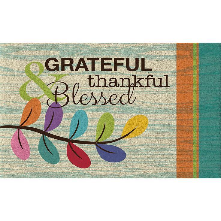 Polytop Grateful Thankful Teal Door Mat