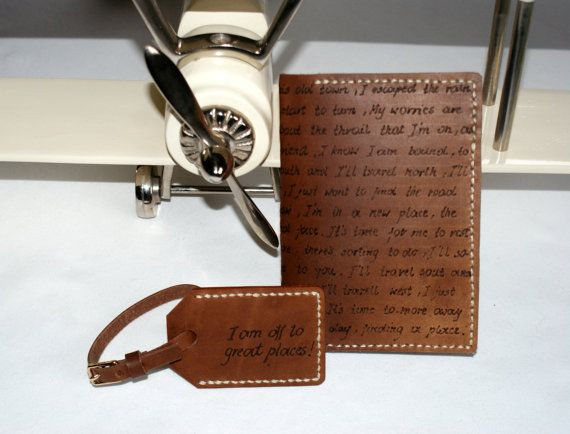 personalized leather passport holder & luggage tag in set by araga, $90.00