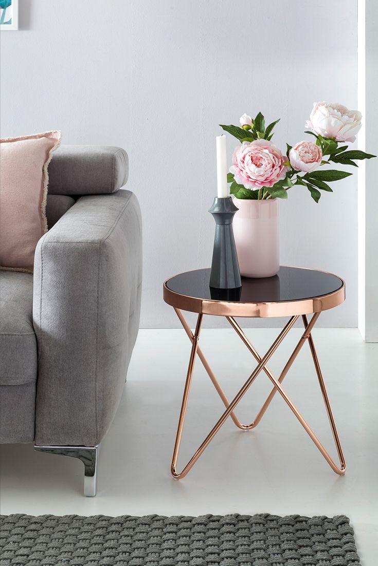 Finebuy Design Couchtisch Round Mini O 42 Cm Rund Glas Kupfer Lounge Beistelltisch Wohnzimmertisch Couchtisch Dekor