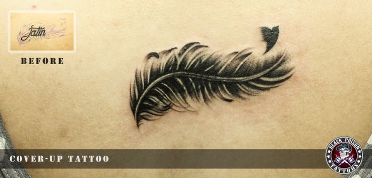 Amazing Cover-Up Bird Feather Tattoo Inked By Black Poison Tattoos