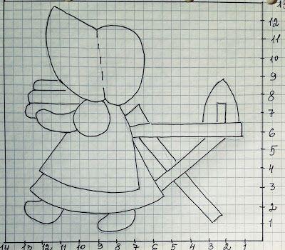 Тихая комната: Крошка Сью. Рисунок (схема) и выкройка. Аппликация на ткани.