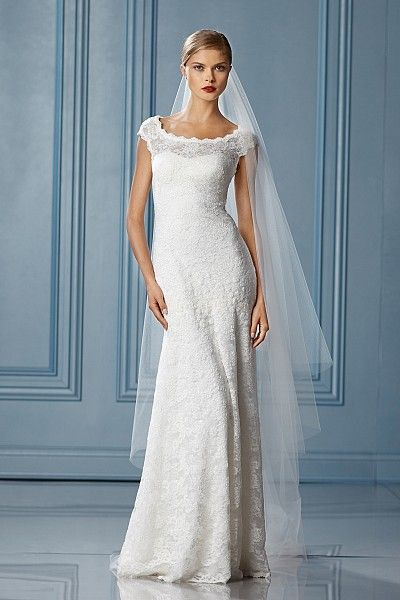 Bateau neckline   Fitted bodice   Soft a-line skirt   Lace covered buttons to top of zipper   Sweep train    Sizes: 0-24    Colors: IVORY    Fabrics: PARISIAN LACE    Available Colors: WHITE, IVORY  For Wedding Accessories,visit us.  http://www.bridesadvantageclub.com/Default.aspx?pageId=1475781