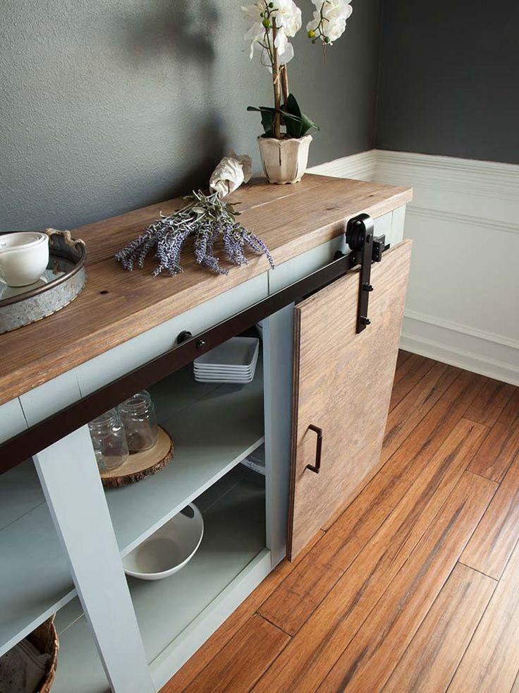 Ajustes simples para 3 proyectos de muebles rústicos modernos: Grandy puerta corrediza de buffet tabla