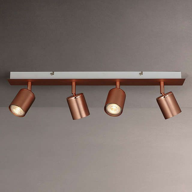 John Lewis Mode GU10 LED Spotlight Bar 4 Light Copper Dining Room