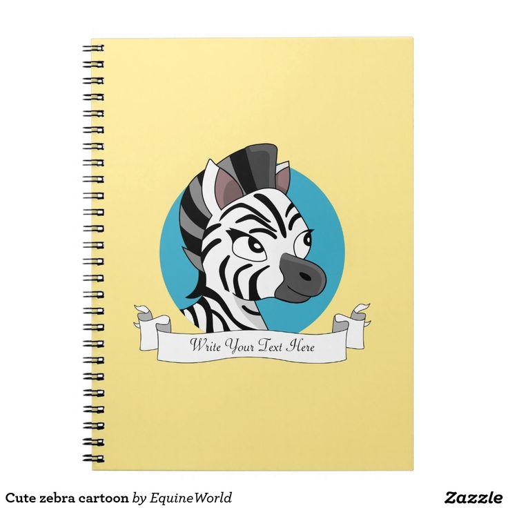 Cute zebra cartoon spiral note book
