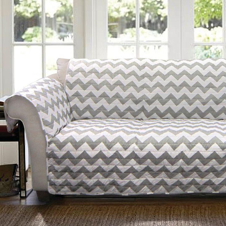 Chevron Furniture Protector Gray/ White Loveseat, Gray/White