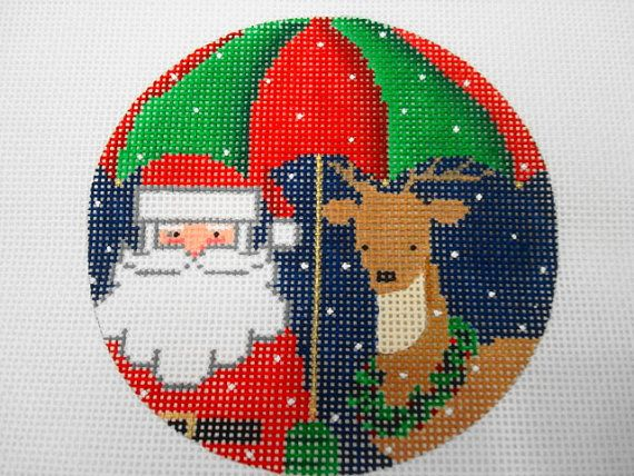 Santa and his Reindeer under a Christmas Umbrella-NM ARTS series of Santas 18 ct. handpainted ornament