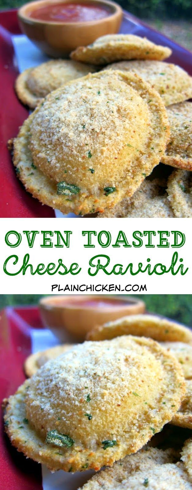 Oven Toasted Ravioli - baked not fried! SO easy and ready in about 15 minutes. Great for parties! Frozen ravioli, coated in parmesan cheese and baked. Dip in warm marinara or pesto.