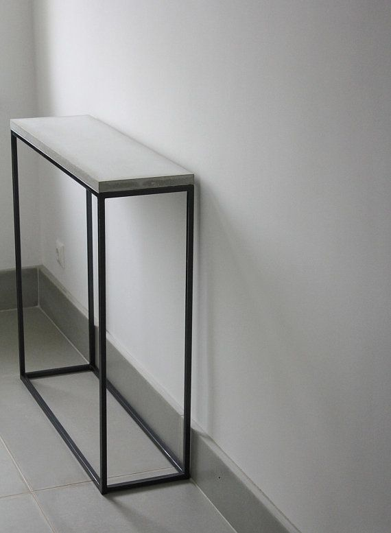 Concrete Console Table Narrow Console Table Concrete Table Entry Table Entryway Table Hallway Table Narrow Console Table Hallway Table Decor Concrete Table