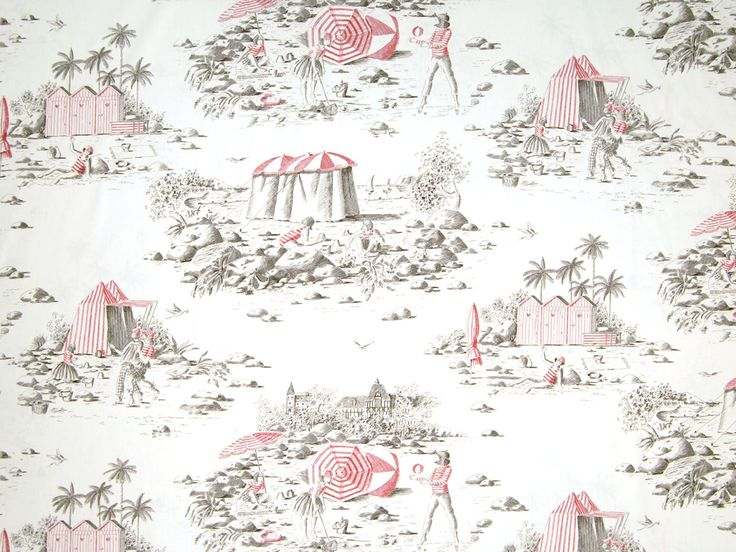 Deauville Toile In Rouge From Old World Weavers/Stark #fabric #cotton #toile