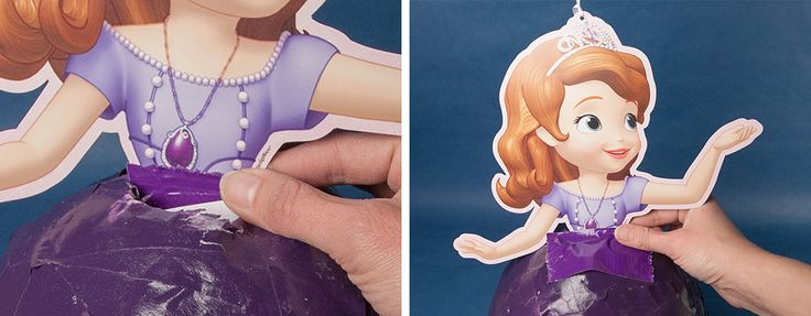 """Materials Sofia the first fluffy party decoration White Cardstock approximately 5"""" x 7"""" Strips of Newspaper White Glue Purple Spray Paint Duct tape (preferably purple) Inflated Balloon Disposable c…"""