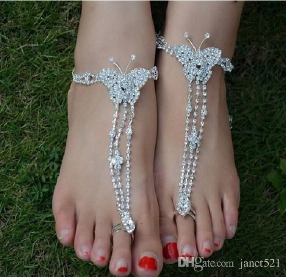 2017 Bling Luxury Rhinestone Design Butterfly Instep Chains Barefoot Sandals Sexy Toe Ring Anklets For Beach Wedding Jewelry Bridesmaid Gift Desi From Janet521, $2.77   Dhgate.Com