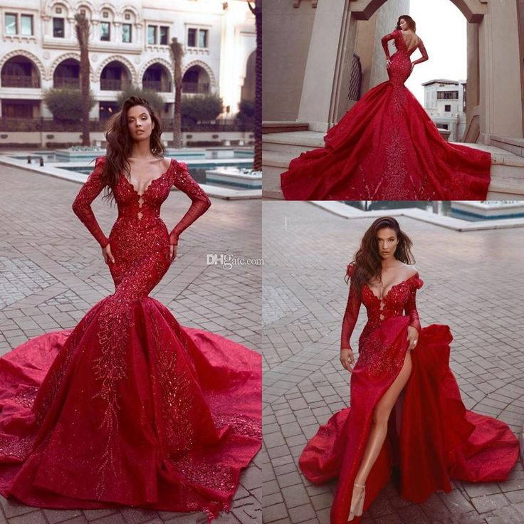 Sparkly Luxury Indian Mermaid Reception Gothic Long Sleeve Wedding Dresses Cheap Beaded Muslim Plus Size Bridal Gowns 2019 Mermaid Wedding Dress Long Sleeve Wedding Dress Stain Wedding Dress Online with $343.75/Piece on Readygogo's Store