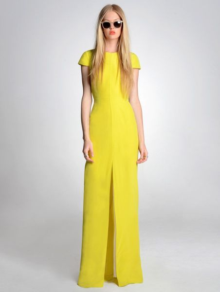 Cap Sleeve Yellow Gown