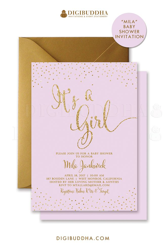 Lilac and gold glitter sparkle baby shower invitations for a baby girl shower. Gold glitter lettering, either in ready made printed cards with envelopes or choose printable baby shower invitations instead. Gold shimmer envelopes also available, at digibuddha.com