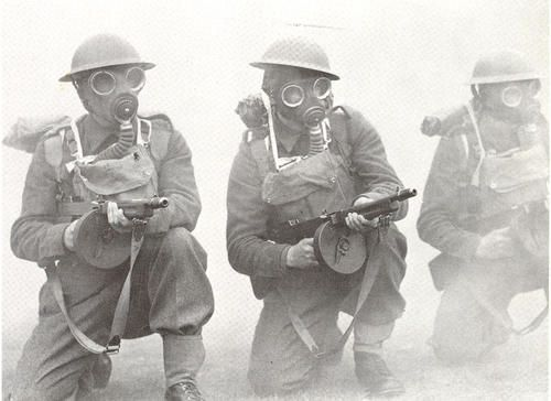 Image result for british soldier ww2 in gas mask