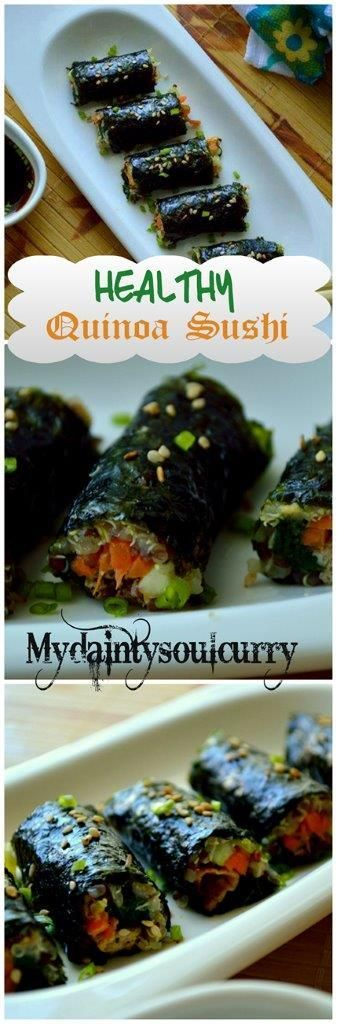Enjoy eating these small quinoa sushi rolls with your friends, family or just by yourself without worrying about calories and nutrition.