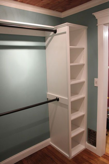 Mount double rods to one side of shelf tower -- mount one extra rod for jackets perpendicular to other two rods on right wall of closet (through top shelf of storage unit)