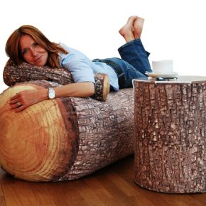 Add some log inspired body pillows and cushions to your home for a woodsy feeling beside your fireplace.