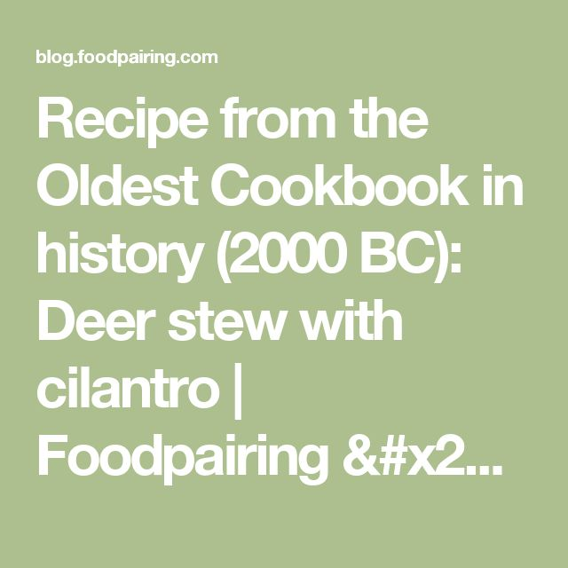 Recipe from the Oldest Cookbook in history (2000 BC): Deer stew with cilantro | Foodpairing / blog