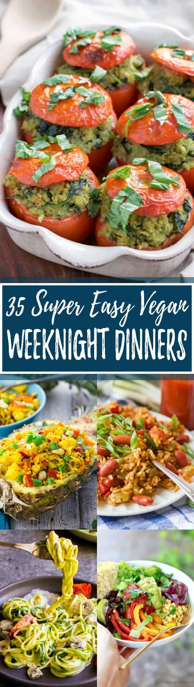 These 35 vegan dinners are perfect for busy days! All recipes are plant-based, super easy to make, and incredibly delicious. Most of these vegan meals are even super healthy! This roundup includes some of my favorite vegan recipes! So YUMMY! <3 | veganheaven.org
