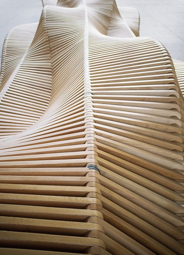 Architect Piotr Zuraw has designed a bench named uiliuili, as part of the Wroclaw City Furniture Project. The bench was constructed by the University of Wroclaw in Poland.