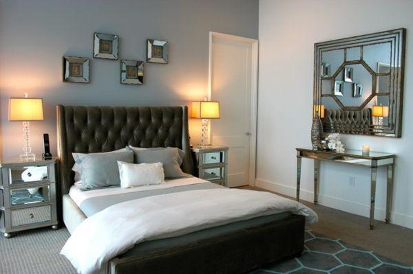 Männliches Schlafzimmer Design bett lampe nachttisch